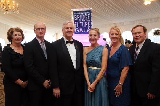 Carol Gordon, left to right, Council of Industry Executive Vice President Harold King, DCC Foundation Board Chair Jim Fedorchak, DCC President Pamela Edington, Lisa Morris and Sandy Williams are shown during the March 30 Dutchess Community College Foundation's annual gala.