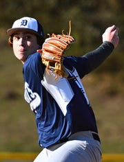 Dallastown's Carson Wolf pitches against Red Lion during baseball action at Horn Field in Red Lion, Wednesday, April 3, 2019. Red Lion would win the game 3-0. Dawn J. Sagert photo