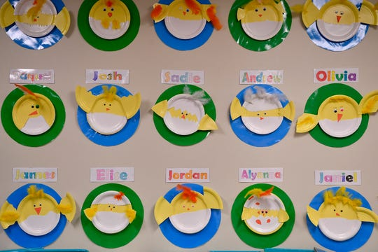 """Second graders at York Academy are completing their """"How the World Works"""" unit of inquiry. During this unit, the students have been learning about life cycles - specifically through incubating and hatching chicks, Wednesday, April 3, 2019.John A. Pavoncello photo"""