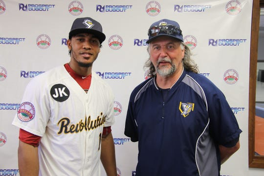 York Revolution manager Mark Mason, right, is shown with his new pitcher, Julio Perez.