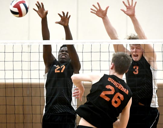 Central York beats host York Suburban in boys' volleyball 3-1 Tuesday, April 2, 2019. Bill Kalina photo