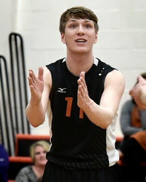 Central York's Braden Richard, seen here in a file photo, had 21 kills on Monday in a 3-0 win over Hempfield.