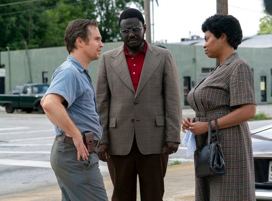 "From left,  Sam Rockwell, Babou Ceesay and Taraji P. Henson star in ""The Best of Enemies."" The movie opens Friday at Regal West Manchester Stadium 13."