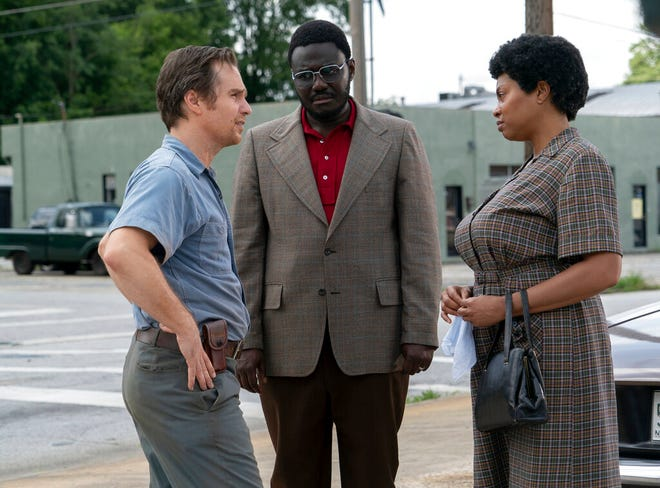 """From left,  Sam Rockwell, Babou Ceesay and Taraji P. Henson star in """"The Best of Enemies."""" The movie opens Friday at Regal West Manchester Stadium 13."""