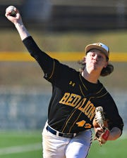 Red Lion's C.J. Czerwinski pitches against Dallastown during baseball action at Horn Field in Red Lion, Wednesday, April 3, 2019. Red Lion would win the game 3-0. Dawn J. Sagert photo