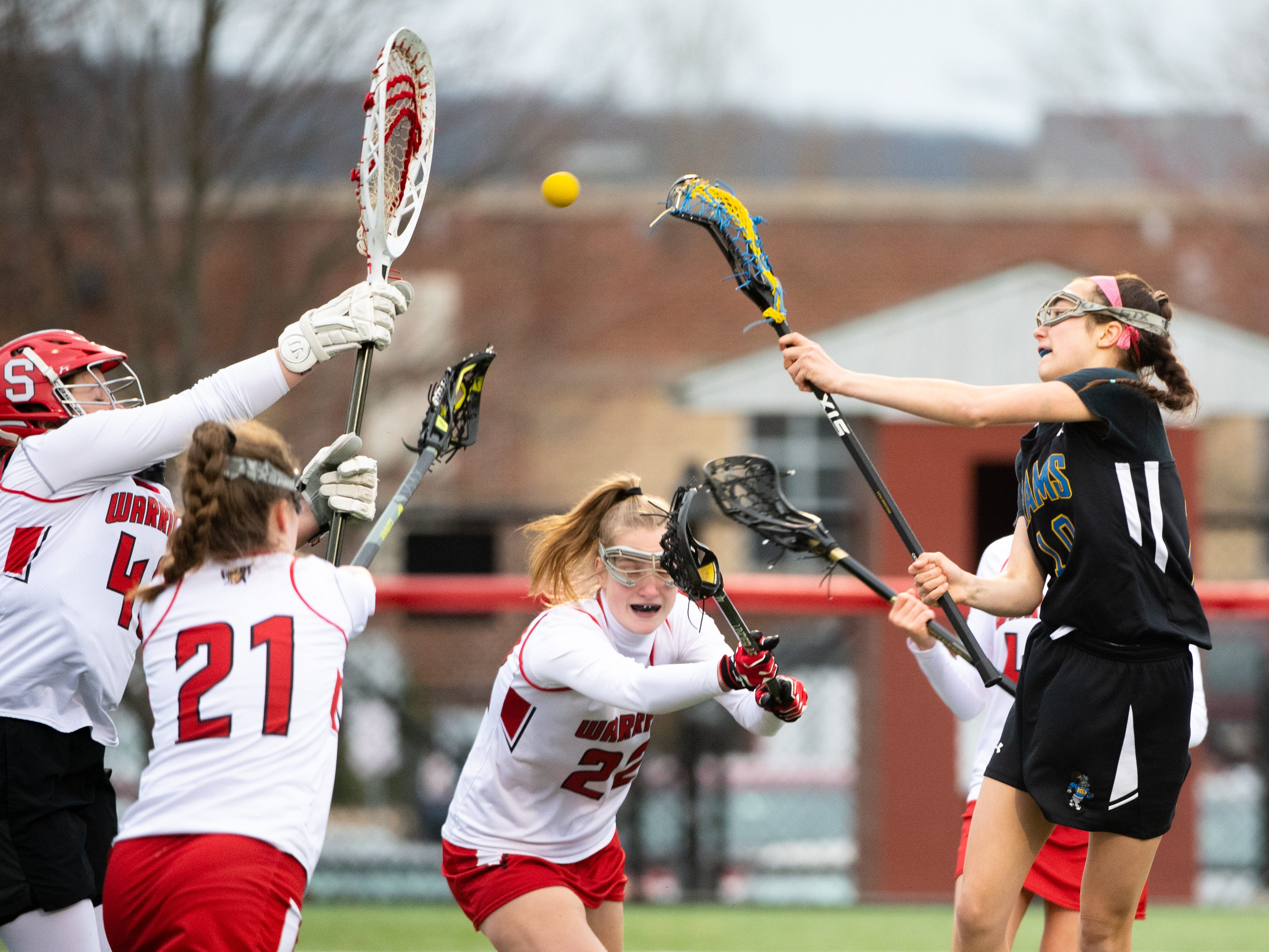 Amelie Gamache (10) takes the shot during the girls' lacrosse game between Susquehannock and Kennard-Dale, April 2, 2019 at Susquehannock High School. The Rams defeated the Warriors 17 to 2.