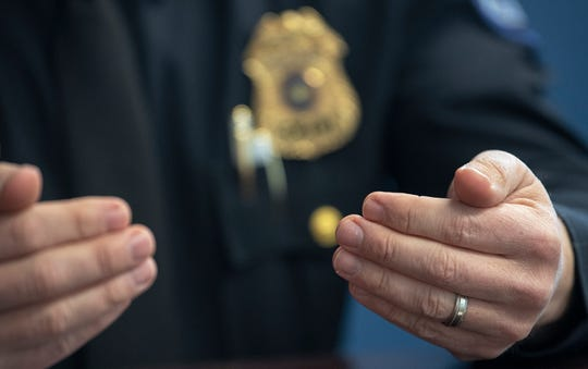 In this file photo from April 3, 2019, Fairview Township Police Chief Jason Loper discusses policy and approaches to prostitution investigations in an interview.