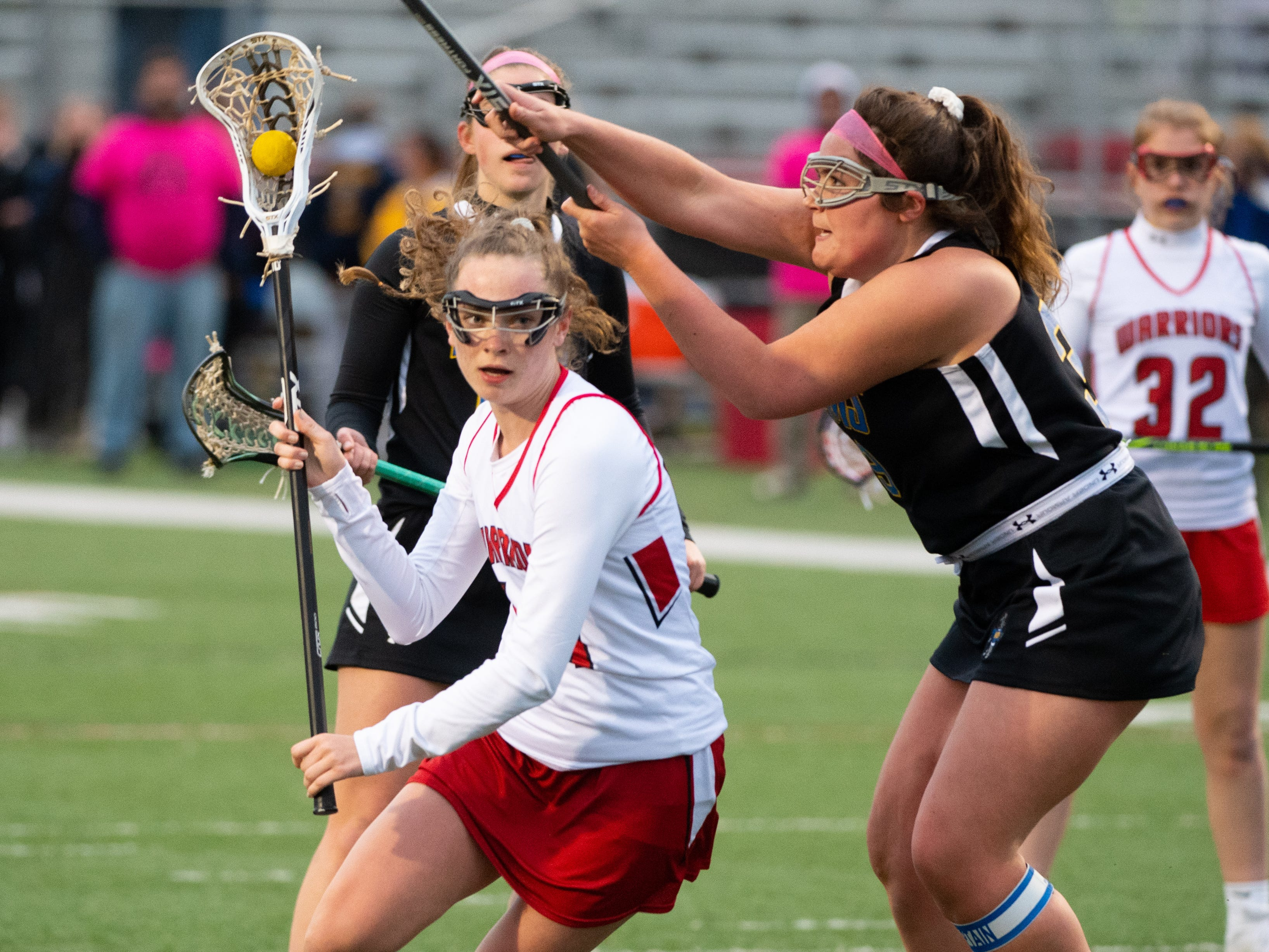 Rachel Oestrike (41) heads towards goal during the girls' lacrosse game between Susquehannock and Kennard-Dale, April 2, 2019 at Susquehannock High School. The Rams defeated the Warriors 17 to 2.