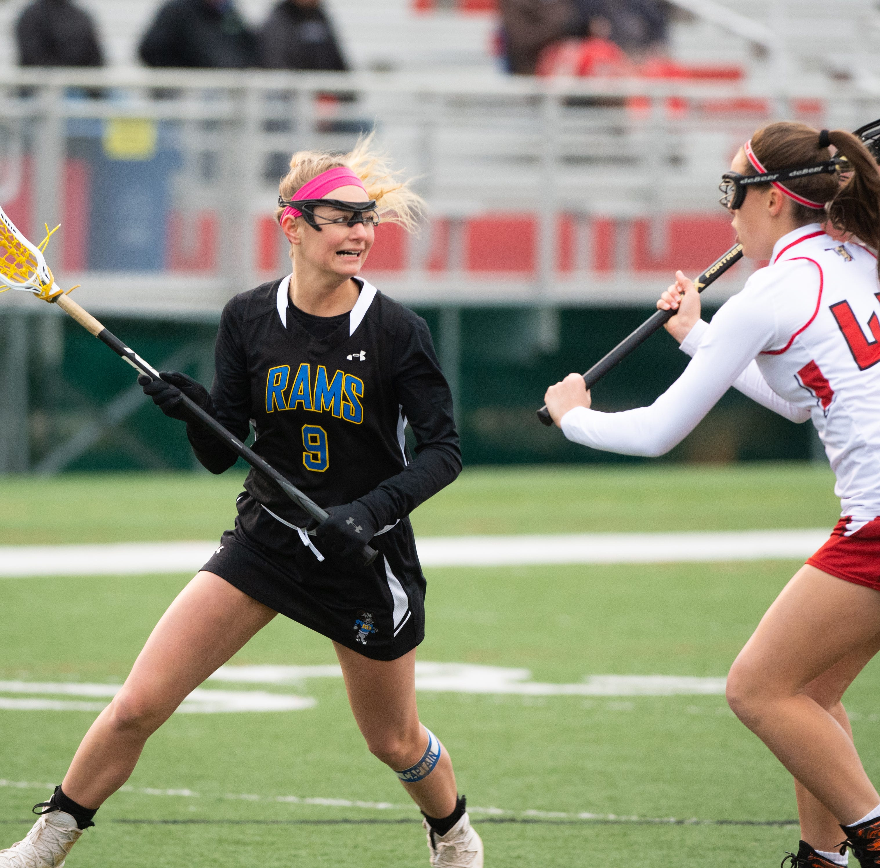 Megan Halczuk (9) looks to get past the defense during the girls' lacrosse game between Susquehannock and Kennard-Dale, April 2, 2019 at Susquehannock High School. The Rams defeated the Warriors 17 to 2.