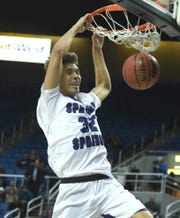 Spanish Springs' Jalen townsell dunks one against Bishop Gorman in first half of a semifinals game at the 2018 NIAA 4A State Basketball Championships at Lawlor Events Center on Feb. 22, 2018.