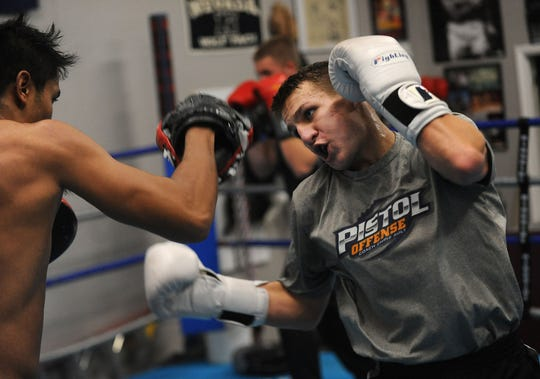 Nevada boxer Davis Ault, grandson of Chris Ault, works out at Nevada Boxing in Reno on Nov. 7, 2018.