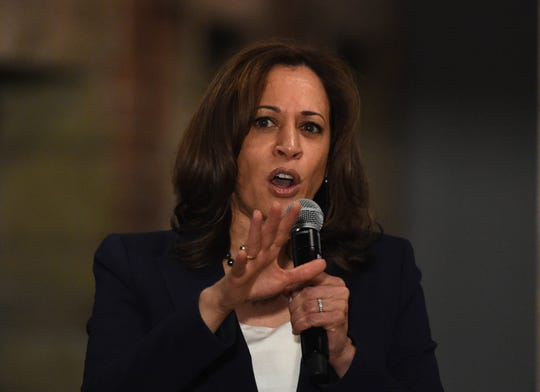 Presidential candidate Kamala Harris speaks at The Union in Carson City on Tuesday April 2, 2019,