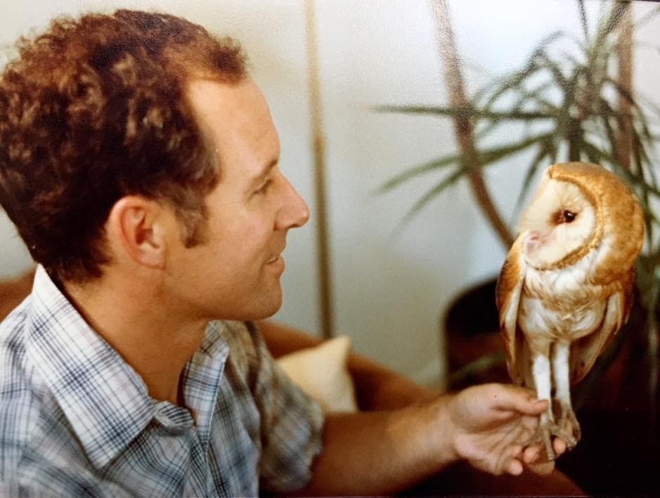 Reno pediatrician Dr. Pat Colletti, early in his career, with an owl he nursed back to health