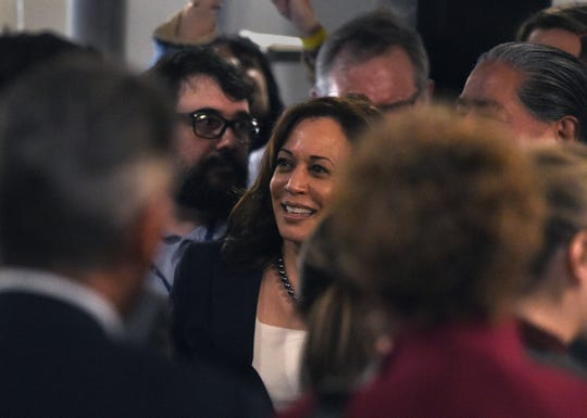 Presidential candidate Kamala Harris walks through the crowd after she spoke at The Union in Carson City on Tuesday April 2, 2019,