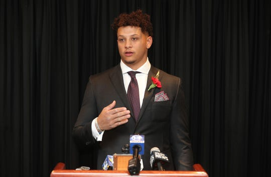 Kansas City Chiefs quarterback Patrick Mahomes speaks with the media before the Rochester Press-Radio Club Day of Champions Dinner.