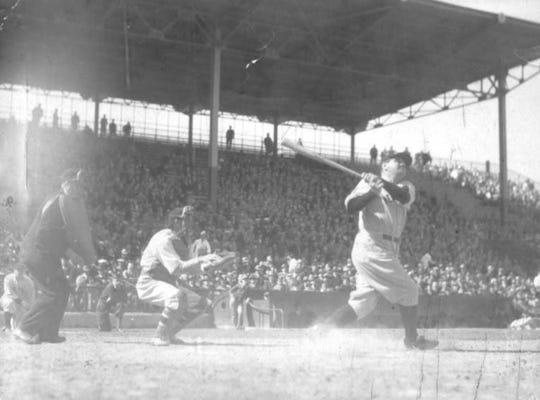 Babe Ruth at bat at Red Wings Stadium, circa 1934.