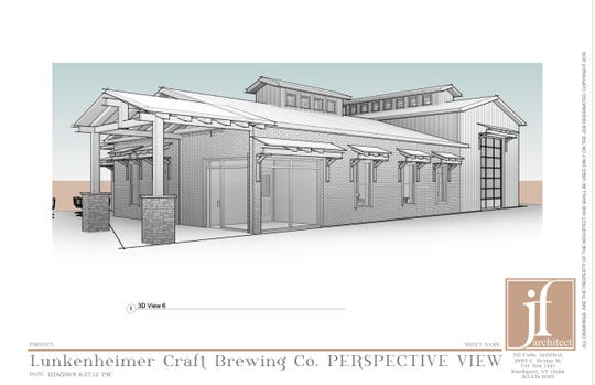 An architectural rendering of the proposed Lunkenheimer Craft Brewing in Weedsport, Cayuga County.