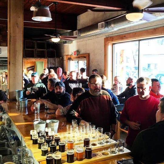 A crowded afternoon inside Lunkenheimer's current taproom in Weedsport, Cayuga County.