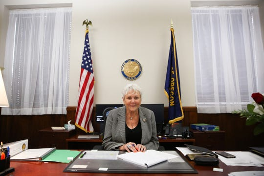 Secretary of State Bev Clarno is pictured in her office at the Oregon State Capitol in Salem on April 3, 2019.