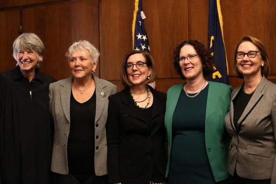 Supreme Court Chief Justice Martha Walters, Secretary of State Bev Clarno, Gov. Kate Brown, Labor Commissioner Val Hoyle and Attorney General Ellen Rosenblum pose for a photo during a swearing in ceremony for the new Secretary of State Bev Clarno at the Oregon State Capitol in Salem on April 3, 2019.
