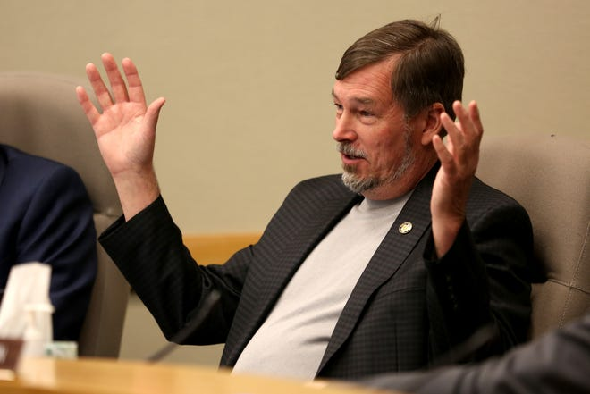 Sen. Brian Boquist. R-Dallas, a chief sponsor of Senate Bill 870, a bill that supports using the national popular vote instead of electoral college in presidential elections, speaks at the Oregon State Capitol in Salem on April 3, 2019.