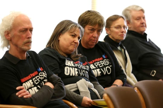 Supporters of Senate Bill 870 attend a hearing at the Oregon State Capitol on April 3, 2019.