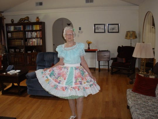 Pictured is the late Nora Geen modeling a traditional square dance costume in her home. She was an active supporter of square dancing from 1979 until her passing in 2017. Her association with the square dance community has recently been memorialized in Heritage Park, corner of Oakes St. and Twohig Ave., in downtown San Angelo.
