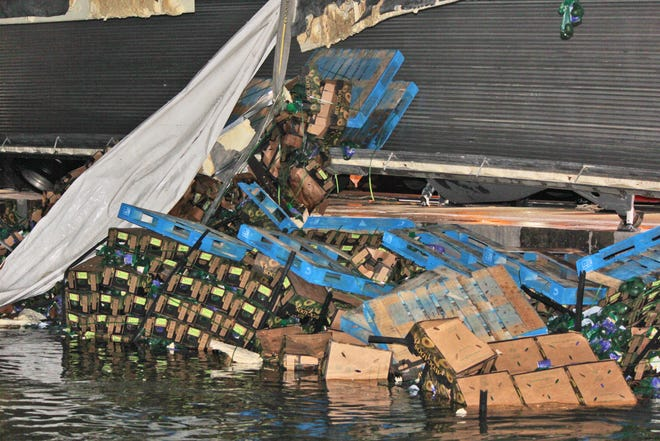A truck hauling 42,000 pounds of avocados traveling from Laredo overturned into the South Llano River Feb. 15, 2019, at the bridge on US 377.