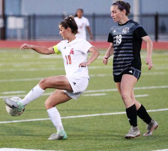 San Angelo Central's Addison Bonaventure controls the ball during a Class 6A area soccer playoff against Odessa Permian at Abilene Wylie's Bulldog Stadium on Tuesday, April 2, 2019.