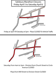 Some roads in downtown Salisbury will be temporarily closed from April 5-6, 2019 due to the Salisbury Marathon.