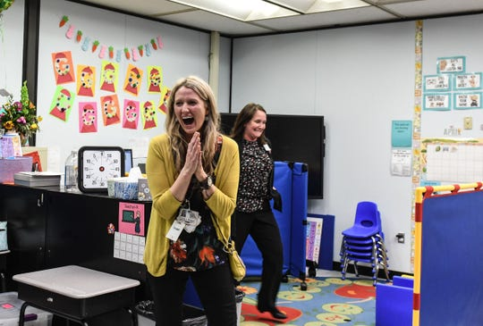 Snow Hill Elementary School Pre-Kindergarten Gina Russell is surprised during the school day with the award of Worcester County Teacher of the Year on Wednesday, April 3, 2019.