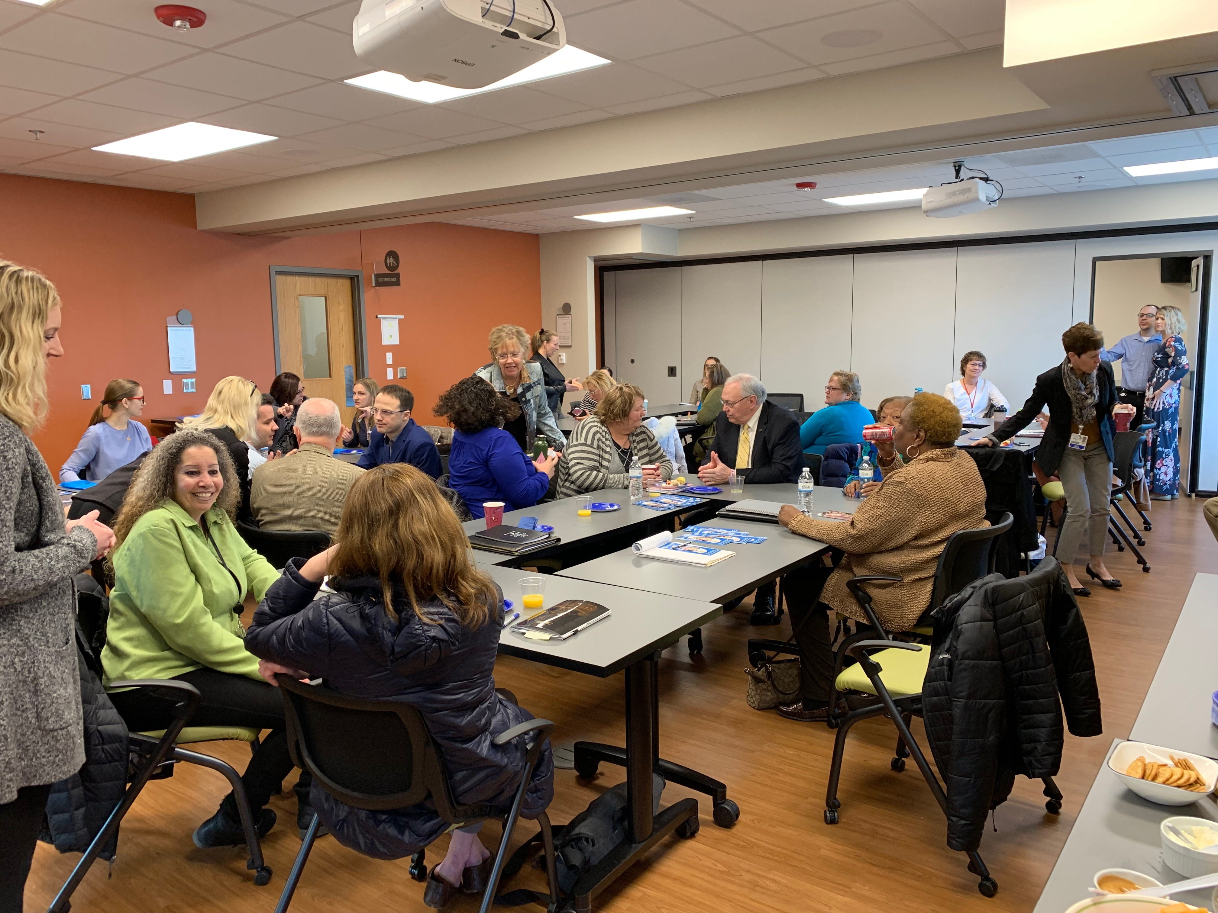 Round table at Lakeshore Community Health with the delegates with reps from Freedom Cry, St. Nicholas hospital, MHA, Sheboygan Area School District, Department of Health and Human Services, Sheboygan Police Department, Love Inc., Grace Episcopal Church, Victim Witness and United Way.