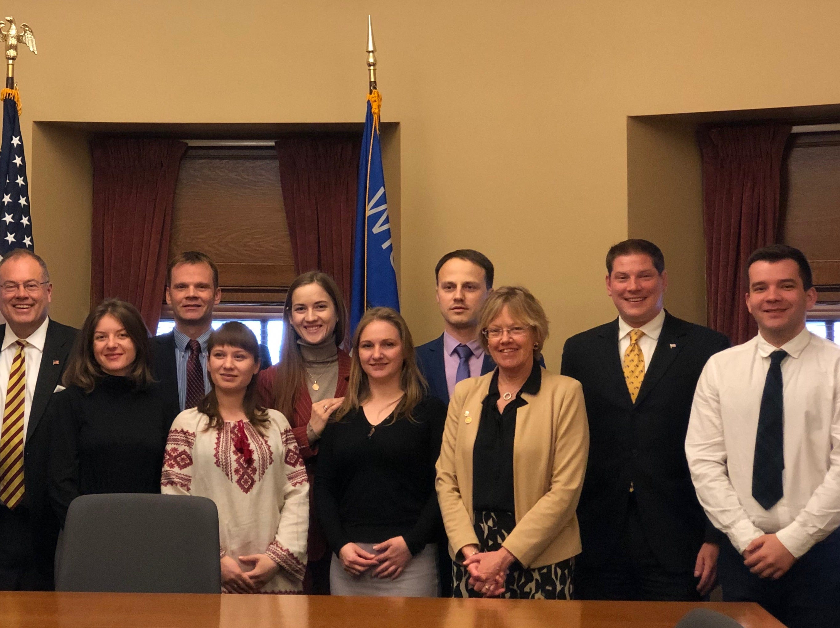 State representative Terry Katsma, state representative Tyler Vorpagel and state senator Devin LeMahieu with the delegates.