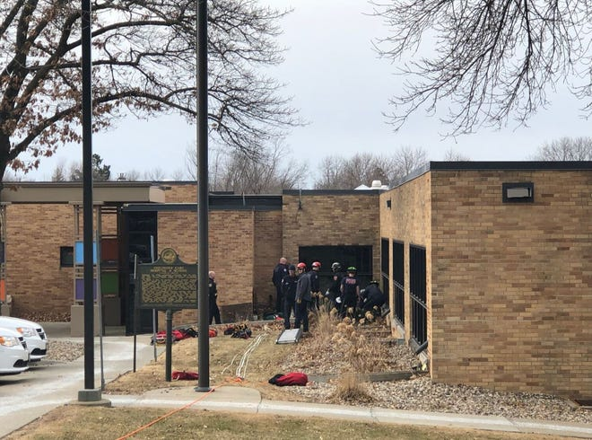 Crews rescued a person who apparently fell through a grate at LifeScape on West 26th Street in Sioux Falls on April 3, 2019.