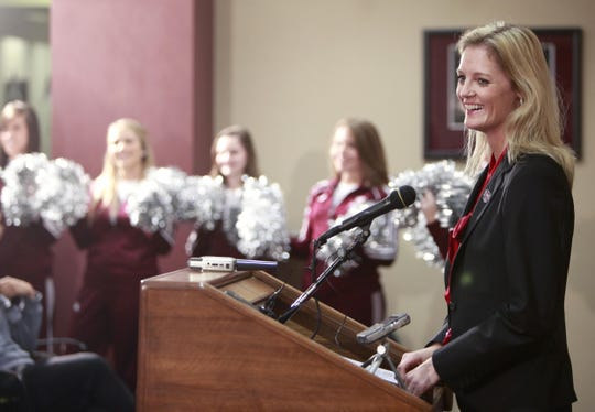 Kellie Harper, the former women's basketball coach at North Carolina State University, is introduced as the new head coach of the Missouri State Lady Bear during a press conference at JQH Arena on Wednesday, April 10, 2013. Harper also previously coached at Western Carolina University and was a star point guard at the University of Tennessee.