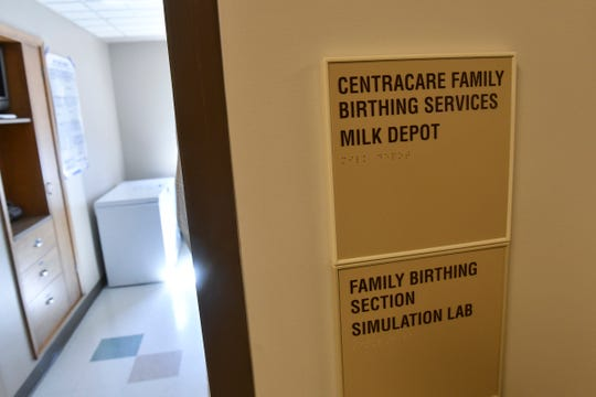 A sign marks the recently opened milk depot at the St. Cloud Hospital.