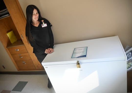 Lactation resource nurse Jeanne Friebe stands near the recently-opened milk depot Wednesday, April 3, at St. Cloud Hospital.