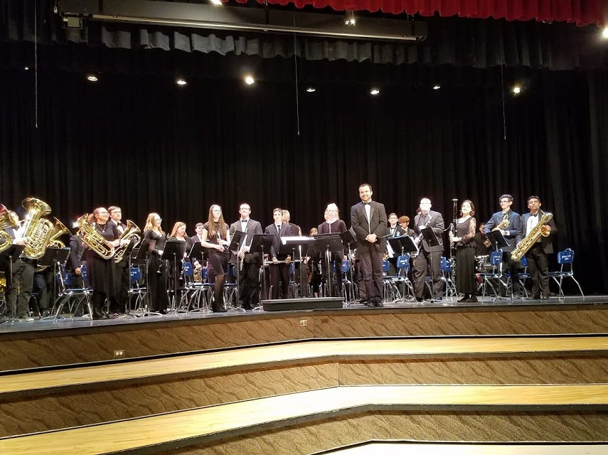 Pine View High School's symphonic band is directed by Austin Clark.