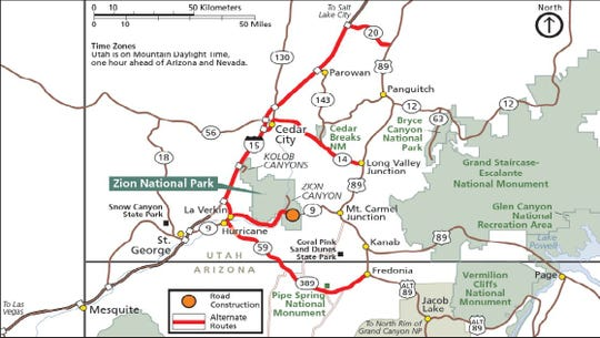 Zion-Mount Carmel closing for road repairs for three weeks on April on redwood national park map, symbol national park on map, angels landing trail map, acadia national park on a map, bryce canyon np map, canyonlands national park road map, city of rocks national reserve map, bryce canyon road map, sequoia national park map, grand canyon map, grand staircase escalante national monument map, zion subway map, salt lake city map, death valley map, monument valley map, st. george map, antelope canyon map, denali national park and preserve map, arches national park topographic map, lake tahoe map,