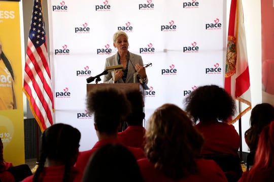 Secretary for the Department of Juvenile Justice Simone Marstiller gives advice to the girls in the Pace Center for Girls program during Pace day at the Capitol Wednesday, April 3, 2019.