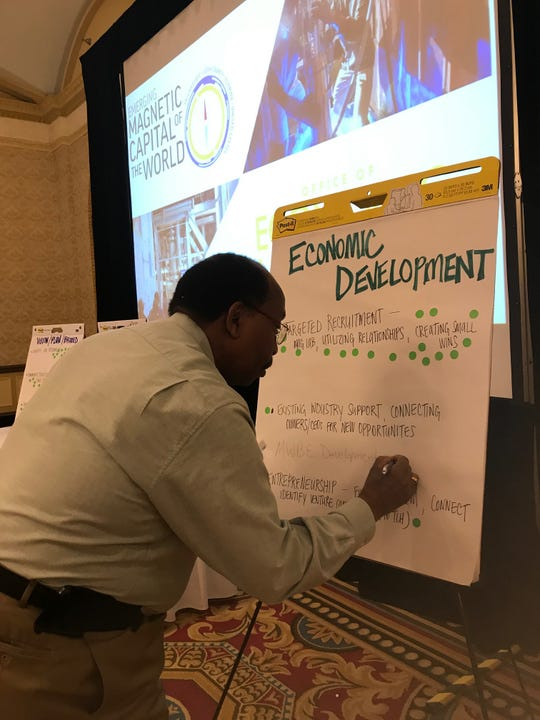 City Commissioner Curtis Richards places sticker on the Economic Development Board during wrap-up session in Greenville, South Carolina, trip organized by the Tallahassee Chamber of Commerce