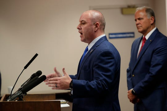 Rep. Blaise Ingoglia, R-Hernando County, speaks during a news conference on election reform, specifically about changing guidelines for overseas and vote by mail early voting, at the Capitol Wednesday, April 3, 2019.