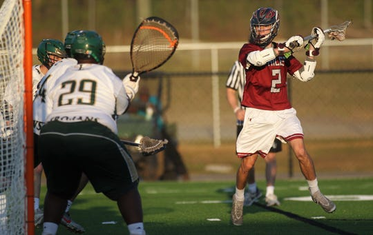 Chiles senior Matt Congdon prepares to take a shot for a goal as Lincoln beat the Timberwolves 14-8 on Tuesday, April 2, 2019 at Gene Cox Stadium.