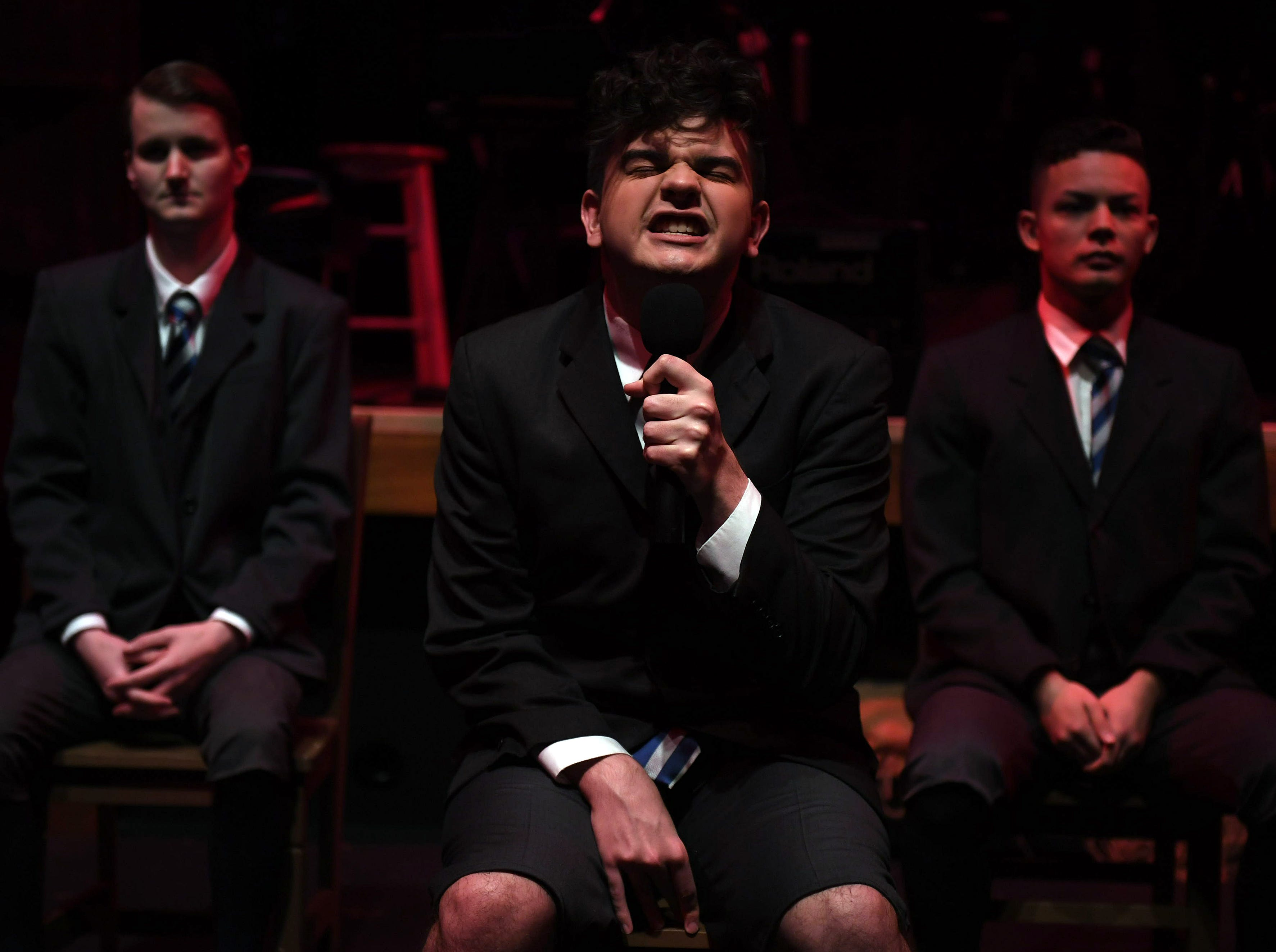 Struggling with anxiety and depression, Mortiz Stiefel (Tristan Ferrara, center) expresses his sexual frustrations.