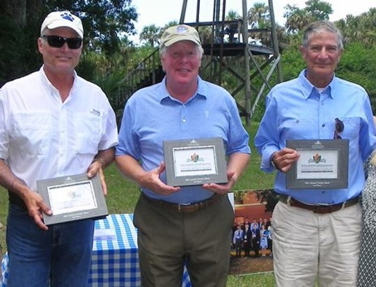 First place winners of the 2018 Education Foundation Charity Shoot, from left, Phil Barth, George Fetterolf, and Gordon Calder