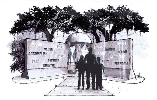 """The Next Generation Veterans of Vero Beach's """"Words From War"""" monument will beinstalled at Riverside Park. It is being created by sculptor Ross Power, standing more than 9-feet tall with a diameter of 18 feet. Over 44,000 pounds of precision cast concrete is being used to replicate T-Walls, the symbol of safety known by all desert combat veterans."""