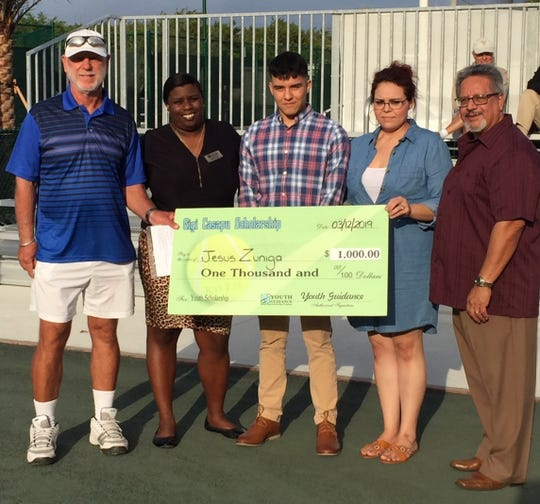 King of Hill 2019 Youth Guidance Tennis Tournament organizer Gigi Casapu, left, with Holly Forde, scholarship winner Jesse Zuniga, Chrisellda Corrillo and Youth Guidance Executive Director Felix Cruz.