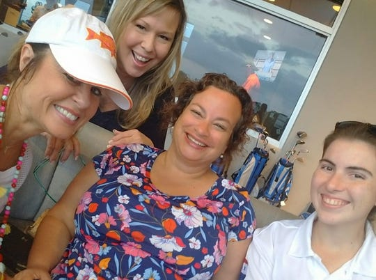 "Cindy Goetz, left, Kim Brady, Liz Mayo and Miss Hibiscus 2018 Katie Toperzer at Big Shots Golf in Vero Beach for the Live Like Cole Foundation's Golfing ""Fore"" A Purpose event."