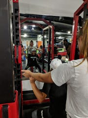 Felicity Fonseca lifts weights at the Barwis Gym at First Data Field. Felicity plays for Girls Travel Baseball out of Miami and the Vipers Baseball Club, a travel club based in West Palm Beach comprised primarily of boys.