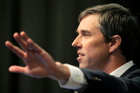 Democratic presidential candidate and former Texas U.S. Rep. Beto O'Rourke of El Paso speaks during the National Action Network Convention in New York, Wednesday, April 3, 2019.